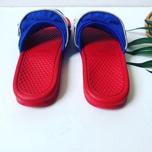 Nike Shoes - NWOT Nike Benassi Red/White/Blue Fanny Pack Slides